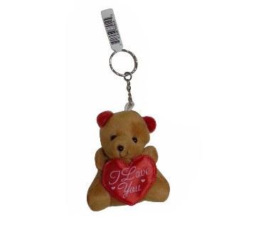 I Love You Teddy Bear Key Ring - Brown