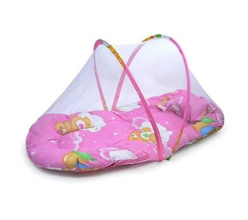 Baby bed with mosquito net and pillow