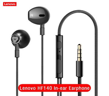 Lenovo HF140 Wired Headphones 3.5mm Jack Super Bass Stereo Metal In-ear Earphone with Mic Noise Cancelling