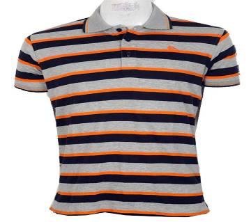 Men`s Short Sleeve Striped Polo-Shirt