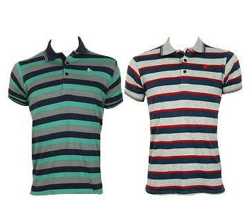 Gents Short Sleeve Striped Polo T-Shirt (COMBO)