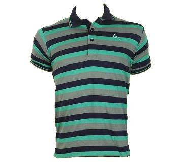 Gents Short Sleeve Striped Polo T-Shirt