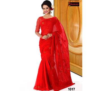 Pure Red Cotton Saree For Party