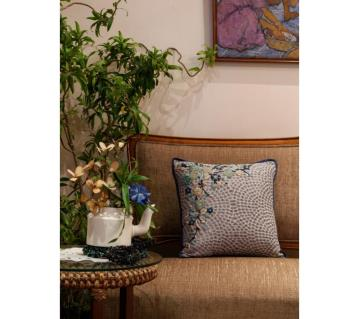 Bouquet/ Indigo Printed & Hand Embroidered Cushion Cover by Ivoryniche