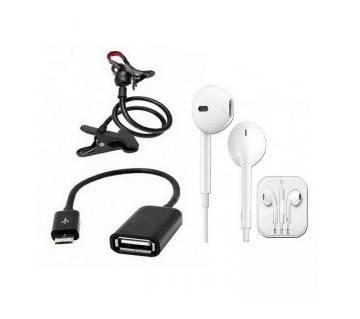 Rotate Stand+Micro USB OTG Cable + Earphone combo