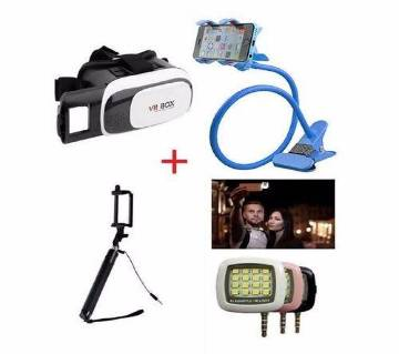VR BOX Headset + Long Stand + Selfie Stick + LED Flash Light-GNG combo