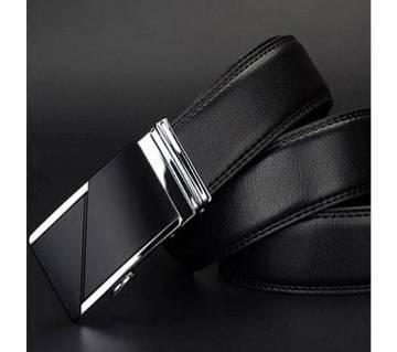 Black Leather Auto Gear Belt for Men