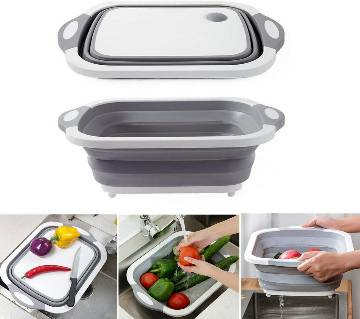 Collapsible Cutting Board With Dish Tub 3 In 1 Multi-Functional