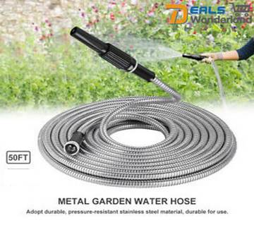 Stainless Steel Metal Garden Hose Water 50FT Flexible Lightweight Pipe