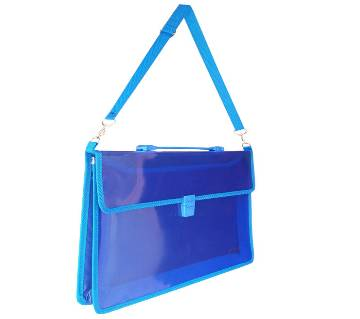 2-Pocket Transparent Expanding File Handle Briefcase Blue color