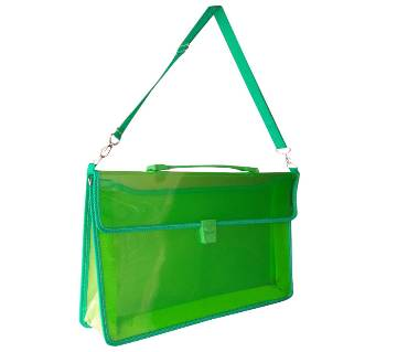 2-Pocket Transparent Expanding File Handle Briefcase Green color