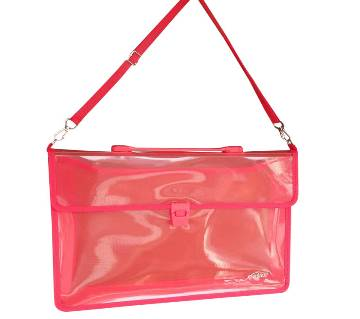 2-Pocket Transparent Expanding File Handle Briefcase Red Color