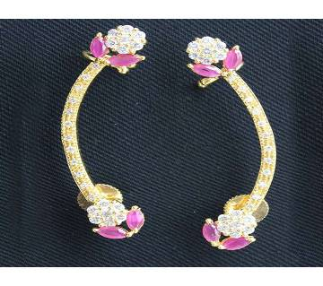 Gold Plated Diamond Cut Curve Ear Ring-287