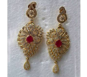 Gold Plated Diamond Cut Long Ear Ring-304