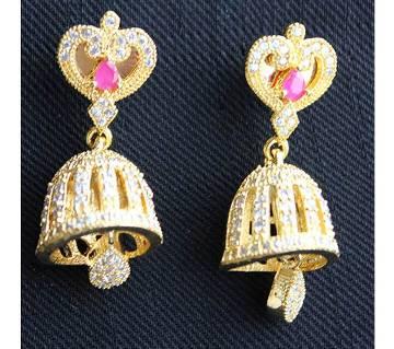 American Diamond Cut Jhumka Ear Ring-342
