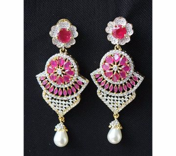 Indian Diamond Cut Ruby color Stone Long Earrings