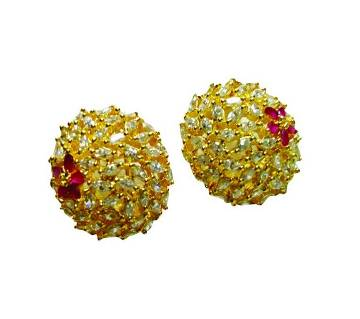 Gold Plated Diamond Cut Ear Ring-224
