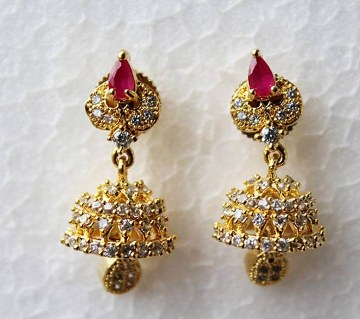 Indian Jhumka style Gold plated Diamond Cut Ruby color Stone Earrings -334