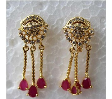 Indian Gold plated Diamond Cut Ruby color Stone Drop Earrings -321