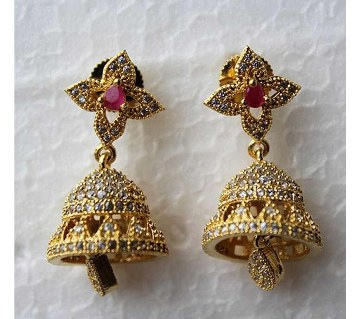 Indian Jhumka style Gold plated Diamond Cut Ruby color Stone Earrings -329