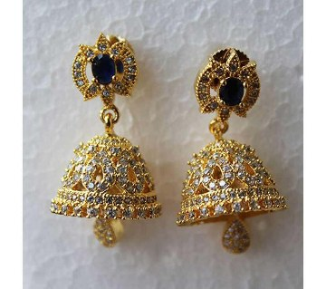 Indian Jhumka style Gold plated Diamond Cut blue Stone Earrings -330