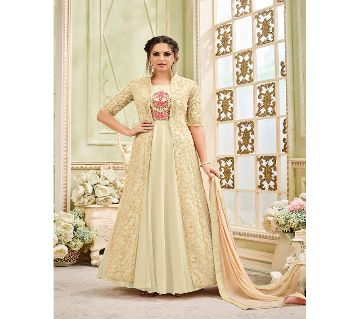 Unstitched Georgette Embroidery Three Piece (Replica)