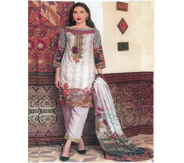 Unstitched Cotton Embroidery Three Piece (Replica)