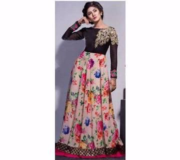 Semi-Stitched Indian Georgette Long Party Suit - Copy