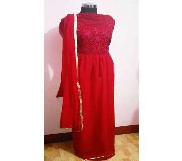 Un-Stitched Georgette Long party suit copy
