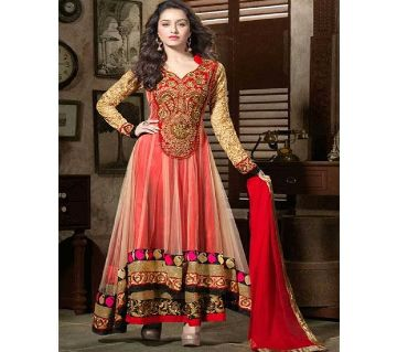 unstitched georgette embroidery party gown