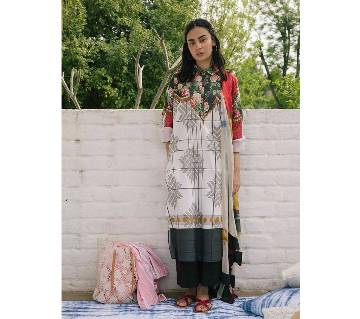 Unstitched Embroidered Pakistani Lawn Three-Piece