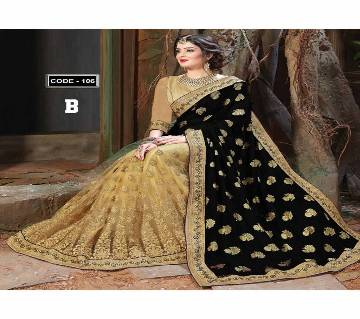 Indian soft weightless georgette sharee with blouse piece code 107-black