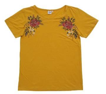 Half Sleeve Ladies T-shirt Yellow Color