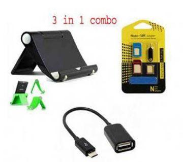 Tablet/Phone Holder + Mobile Sim Tra +OTG USB Adapter