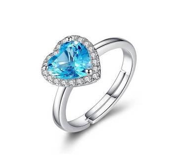 Blue Stone Heart Shape Finger Ring