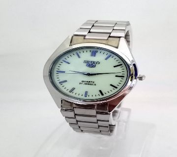 SEIKO Silver Dial Stainless Steel Watch For Boys & Girls-Copy Radium