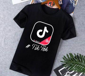 Tik Tok Half-Sleeve slim fit cotton t-shirt