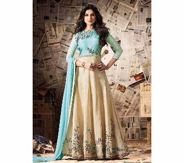 Semi-stitched Cotton Embroidery Long Party Suit - Copy
