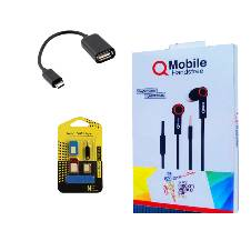 Mobile Headphone, OTG cable, Accessories Combo