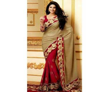 Red and cream combination georgette sharee