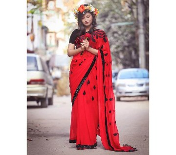 Red georgette sharee with black border