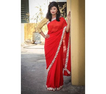 Red georgette sharee