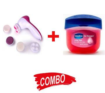 5 in 1 facial and body cleaner massager + Vaseline Lip Therapy Lip Balm Mini, Rosy, 0.25 oz Combo Offer