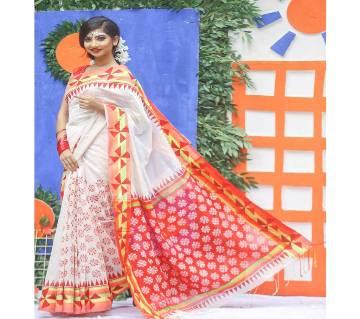 Block Print Half Silk Saree