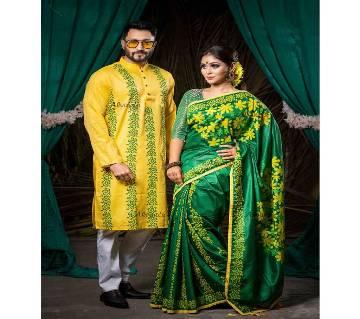 Half Silk Saree Panjabi Combo