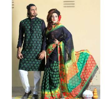 Half Silk Saree And Panjabi Combo