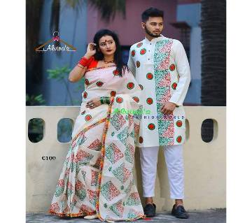 Couple dress for victory day