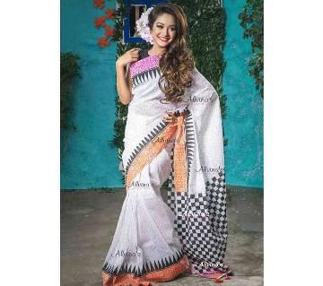 Boishaki Block Print Half Silk Saree