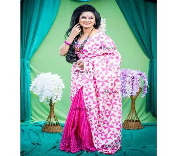 Boishaki Magenta Off White Joint Cotton Saree for Women