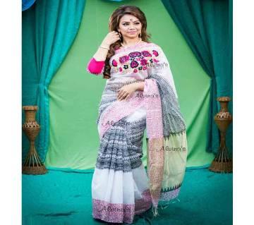 Boishaki Embroidery Half Silk Saree